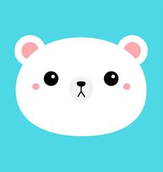 white bear cub round face head icon cartoon funny vector image