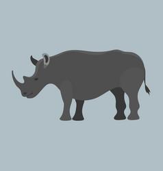 wildlife rhinoceros mammal isolated rhino big wild vector image