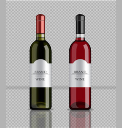 Wine bottles realistic product packaging vector