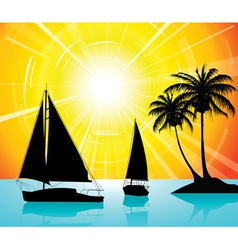 yachts on the ocean vector image