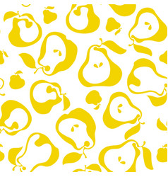 Yellow simple flat peir fruit seamless pattern for vector
