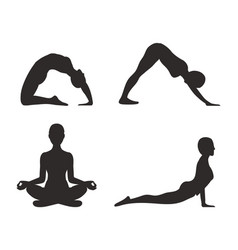 Yoga set of poses silhouette vector