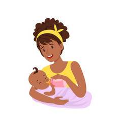 Young black mother breastfeeding her vector