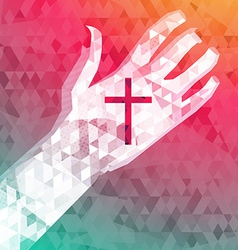 abstract background left hand with christian cross vector image
