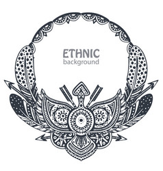 beautiful frame with hand drawn ethnic elements vector image
