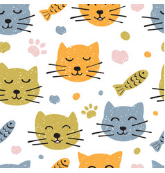 childish seamless pattern with hand drawn cute vector image vector image