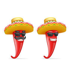 mexican hat red cool hot chili pepper sunglasses vector image vector image
