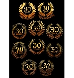 Anniversary golden laurel wreaths set vector image vector image