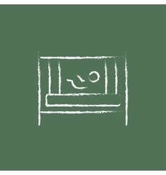 Baby in the crib icon drawn chalk vector