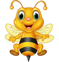 Cartoon funny bee flying isolated vector image