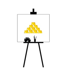 gold bars on canvas yellow vector image