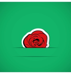 Green card with red rose in paper slit vector image