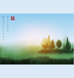 landscape with trees under the sunlight hand drawn vector image
