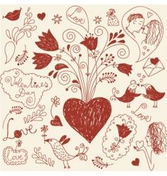 romantic set vector image