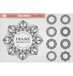 Set of 8 Hand Drawn Decorative Frames vector image vector image