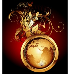 world with floral elements vector image vector image