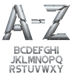 Alphabet Metal construction Isolated on white vector image