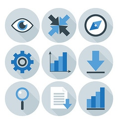 Blue and Grey Business Flat Circle Icons vector image
