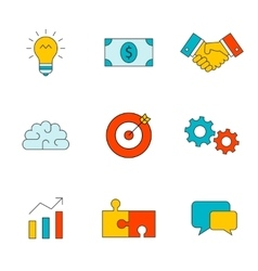 Business thin line icons vector image vector image