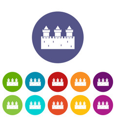 medieval wall and towers icons set flat vector image vector image