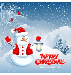 Snowman and lantern vector image vector image