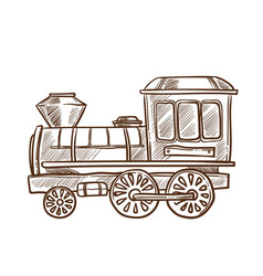 train retro toy sketch hand drawn isolated vector image vector image