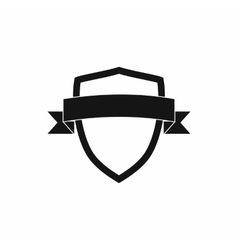 White shield with black ribbon icon simple style vector image vector image