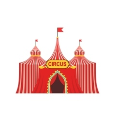 Circus temporary tent in stripy red cloth with vector