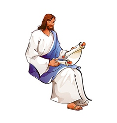 Side view of Jesus Christ holding paper vector image