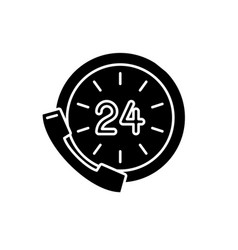24 hour communication black icon sign on vector image