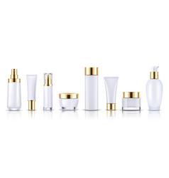 70 set cosmetics gold bottle vector image