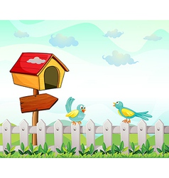 A bird house with an arrow board and birds above vector