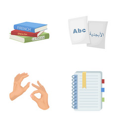 A pile of books in different languages sheets of vector