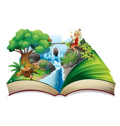A storybook with an image of nature and a fairy vector