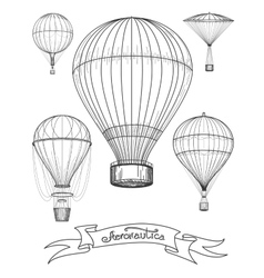 Aeronautica poster with hot air balloons vector