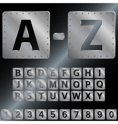 Alphabet Metal plates with rivets EPS 8 vector
