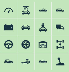 Auto icons set collection of chronometer plug vector