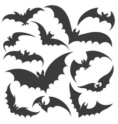 bat silhouette set vector image