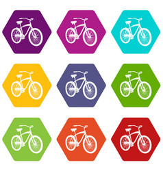 bicycle icons set 9 vector image