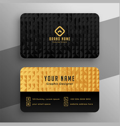 black and golden premium business card template vector image