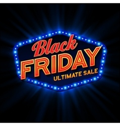 Black Friday retro light frame vector