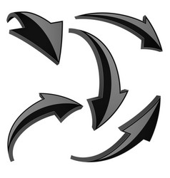 black set of 3d shiny arrows vector image