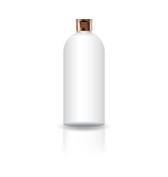 Blank white cosmetic round bottle with copper cap vector