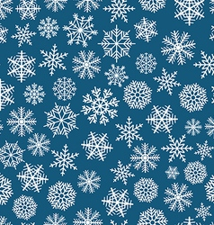 blue seamless christmas background flakes vector image