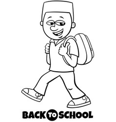 boy student back to school coloring book vector image