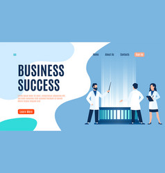 business success landing page men and woman vector image