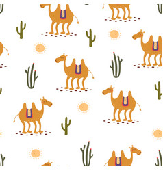 Camel cute seamless pattern on white vector