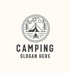 Camping lineart badge logo template vector