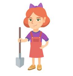 caucasian smiling girl holding a shovel vector image