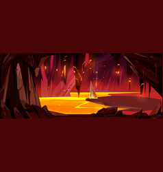 Cave with lava underground hell landscape game vector